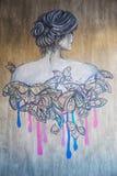 Γκράφιτι στον γκρίζο τοίχο διανυσματική απεικόνιση