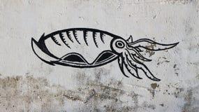 Γκράφιτι του καλαμαριού στον τοίχο Στοκ Εικόνα