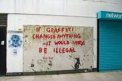 Γκράφιτι Banksy, Λονδίνο Στοκ εικόνα με δικαίωμα ελεύθερης χρήσης