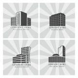 Γκρίζα ακίνητη περιουσία, καθορισμένο διανυσματικό εικονίδιο κτηρίων επιχειρησιακών λογότυπων οικοδόμησης διανυσματική απεικόνιση