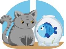 Γκρίζα γάτα και μπλε ψάρια Στοκ Εικόνα