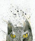 Γκρίζα γάτα με το κίτρινο watercolor ματιών Στοκ φωτογραφία με δικαίωμα ελεύθερης χρήσης