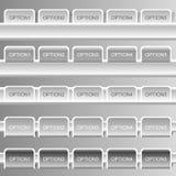 Γκρίζα εμβλήματα επιλογών, κουμπιά Στοκ Εικόνα