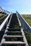 Γκρίζα μακριά ξύλινη σκάλα με τα ξύλινα κιγκλιδώματα στο πράσινο hil Στοκ Εικόνες