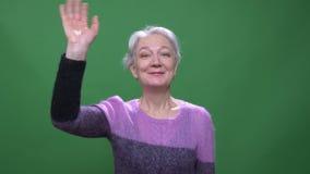 Γκρίζα μαλλιαρή γιαγιά στο ιώδες χέρι κυμάτων πουλόβερ πρόθυμα στη κάμερα που απομονώνεται στο πράσινο υπόβαθρο chromakey φιλμ μικρού μήκους