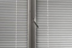 Γκρίζα οριζόντια γρίλληα παραθύρου στο παράθυρο Στοκ Εικόνες