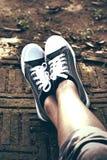 Γκρίζα πάνινα παπούτσια - εξαρτήματα και φορετός (πάνινα παπούτσια) Στοκ Φωτογραφία