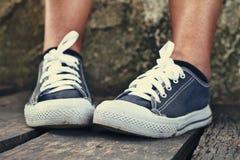 Γκρίζα πάνινα παπούτσια - εξαρτήματα και φορετός (πάνινα παπούτσια) Στοκ φωτογραφίες με δικαίωμα ελεύθερης χρήσης
