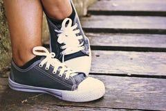 Γκρίζα πάνινα παπούτσια - εξαρτήματα και φορετός (πάνινα παπούτσια) Στοκ φωτογραφία με δικαίωμα ελεύθερης χρήσης
