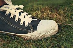 Γκρίζα πάνινα παπούτσια - εξαρτήματα και φορετός (πάνινα παπούτσια) Στοκ εικόνα με δικαίωμα ελεύθερης χρήσης