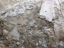 Γκρίζα πολυστρωματική κατασκευασμένη χαρασμένη παλαιά ξηρά πέτρα αποφλοίωσης σύστασης, τοίχος πετρών από το βράχο εθνικό verdure  στοκ εικόνες
