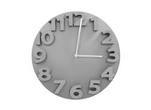 Γκρίζα ρολόγια τοίχων που απομονώνονται στο άσπρο backgrou στοκ φωτογραφία με δικαίωμα ελεύθερης χρήσης