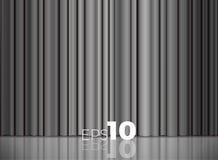 Γκρίζες ή ασημένιες κλειστές κουρτίνες υφάσματος σατέν Στοκ Φωτογραφία
