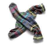 Γκρίζες κάλτσες με τα χρωματισμένα λωρίδες Στοκ εικόνες με δικαίωμα ελεύθερης χρήσης
