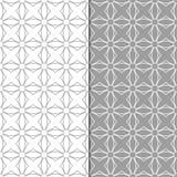Γκρίζες και άσπρες γεωμετρικές διακοσμήσεις άνευ ραφής σύνολο προτύπων Στοκ Εικόνες