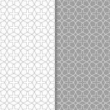Γκρίζες και άσπρες γεωμετρικές διακοσμήσεις άνευ ραφής σύνολο προτύπων Στοκ Φωτογραφία