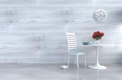 Γκρίζος-άσπρο ντεκόρ καθιστικών σοφιτών με τον καναπέ Στοκ Εικόνες