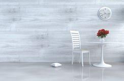 Γκρίζος-άσπρο ντεκόρ καθιστικών σοφιτών με τον καναπέ Στοκ φωτογραφίες με δικαίωμα ελεύθερης χρήσης