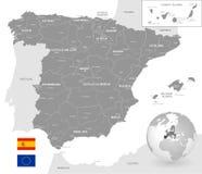 Γκρίζος διανυσματικός πολιτικός χάρτης της Ισπανίας απεικόνιση αποθεμάτων