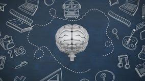 Γκρίζος εγκέφαλος με το σχέδιο των αντικειμένων μελέτης διανυσματική απεικόνιση