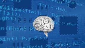 Γκρίζος εγκέφαλος που περιστρέφεται στον πίνακα κυκλωμάτων υπολογιστών διανυσματική απεικόνιση