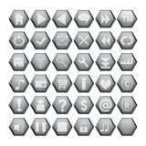 γκρίζος Ιστός κουμπιών διανυσματική απεικόνιση