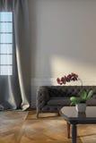 Γκρίζος καναπές κοντά στο παράθυρο Στοκ Φωτογραφία