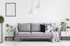 Γκρίζος καναπές μεταξύ των γραφείων με τις εγκαταστάσεις στο άσπρο καθιστικό inte στοκ φωτογραφία