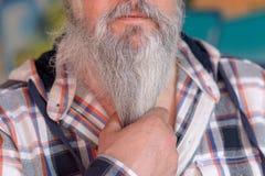 Γκρίζος-μαλλιαρό άτομο που τραβά στη γενειάδα του στοκ εικόνα με δικαίωμα ελεύθερης χρήσης