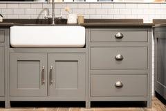 Γκρίζος νεροχύτης κουζινών Στοκ Φωτογραφίες
