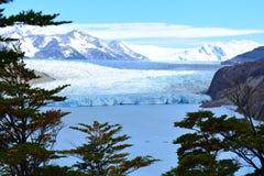 Γκρίζος παγετώνας μέσα στο Torres del Paine National πάρκο, Χιλή στοκ εικόνα