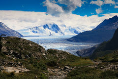 Γκρίζος παγετώνας στην γκρίζα λίμνη Στοκ φωτογραφίες με δικαίωμα ελεύθερης χρήσης