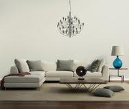 Γκρίζος σύγχρονος σύγχρονος καναπές με το λαμπτήρα Στοκ εικόνες με δικαίωμα ελεύθερης χρήσης