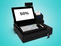 Γκρίζος ταμίας με το όργανο ελέγχου με τη λειτουργία cashback 50 τοις εκατό όταν δίνει ο τυπώνοντας έλεγχος τρισδιάστατος στο μπλ απεικόνιση αποθεμάτων