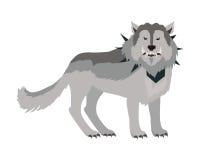 Γκρίζος λύκος στο περιλαίμιο διανυσματική απεικόνιση