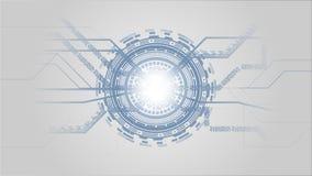 Γκρίζο άσπρο και μπλε αφηρημένο υπόβαθρο τεχνολογίας με τα φουτουριστικά στοιχεία υψηλής τεχνολογίας διανυσματική απεικόνιση