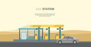 Γκρίζο αυτοκίνητο στο βενζινάδικο στην έρημο διανυσματική απεικόνιση