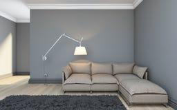 Γκρίζο δωμάτιο Στοκ φωτογραφία με δικαίωμα ελεύθερης χρήσης