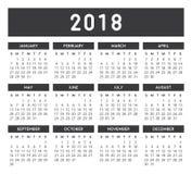 Γκρίζο ημερολόγιο 2018 απεικόνιση αποθεμάτων