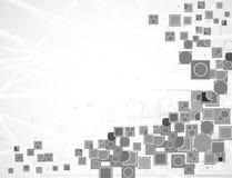 Γκρίζο διανυσματικό υπόβαθρο τεχνολογίας υπολογιστών καινοτομίας κοινό μέσα Στοκ Εικόνες