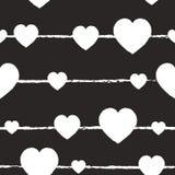 Γκρίζο και άσπρο υπόβαθρο ημέρας βαλεντίνων Διανυσματικό άνευ ραφής σχέδιο με τις άσπρες καρδιές στο γκρίζο υπόβαθρο ελεύθερη απεικόνιση δικαιώματος
