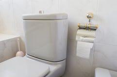 Τουαλέτα γκρίζα και χαρτί τουαλέτας Στοκ Φωτογραφία