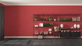 Γκρίζο και κόκκινο εσωτερικό σχέδιο Eco με το ξύλινο ράφι, diy vert Στοκ Φωτογραφίες