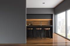 Γκρίζο και ξύλινο εσωτερικό κουζινών, κενός τοίχος φραγμών διανυσματική απεικόνιση