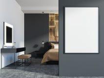 Γκρίζο και ξύλινο εσωτερικό κρεβατοκάμαρων, πίνακας, αφίσα ελεύθερη απεικόνιση δικαιώματος
