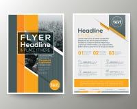 Γκρίζο και πορτοκαλί γεωμετρικό φυλλάδιο ιπτάμενων φυλλάδιων αφισών υποβάθρου ελεύθερη απεικόνιση δικαιώματος