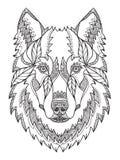 Γκρίζο κεφάλι λύκων zentangle, doodle τυποποιημένος, διανυσματικός, απεικόνιση, freehan διανυσματική απεικόνιση