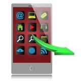 Γκρίζο κινητό τηλέφωνο και πράσινο βέλος Απεικόνιση αποθεμάτων