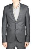 Γκρίζο κοστούμι σακακιών γευμάτων, μικρό ελεγμένο σχέδιο, που απομονώνεται Στοκ Φωτογραφίες