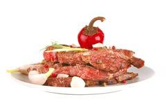 γκρίζο κρέας πιάτων χοντρών &ka Στοκ Φωτογραφίες